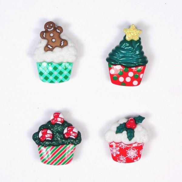 Motivknöpfe Dekoknöpfe Weihnachten Cupcakes