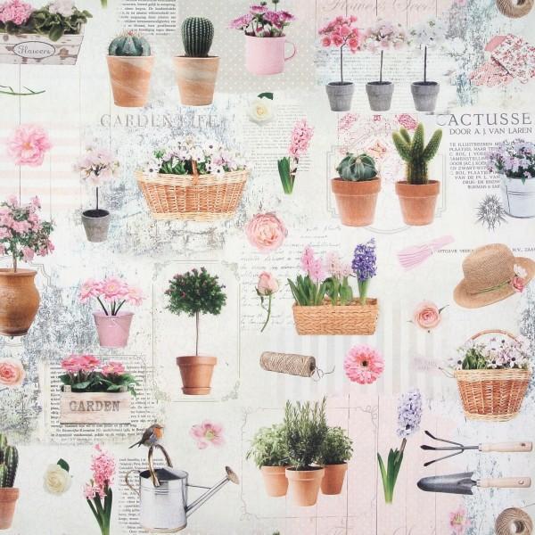 Dekostoff Garten Blumen Digitaldruck