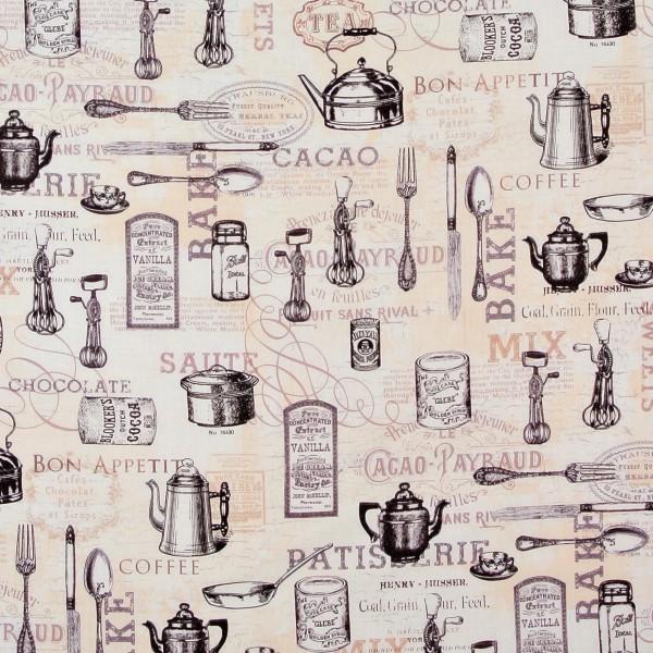 Patchworkstoff Ivory Kitchen nostalgische Küchengeräte Besteck