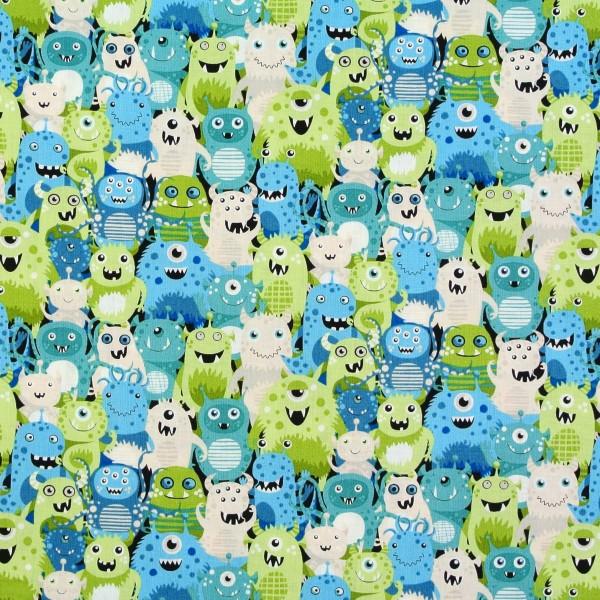 Patchworkstoff Kinder witzige Monster Aliens blau/grün