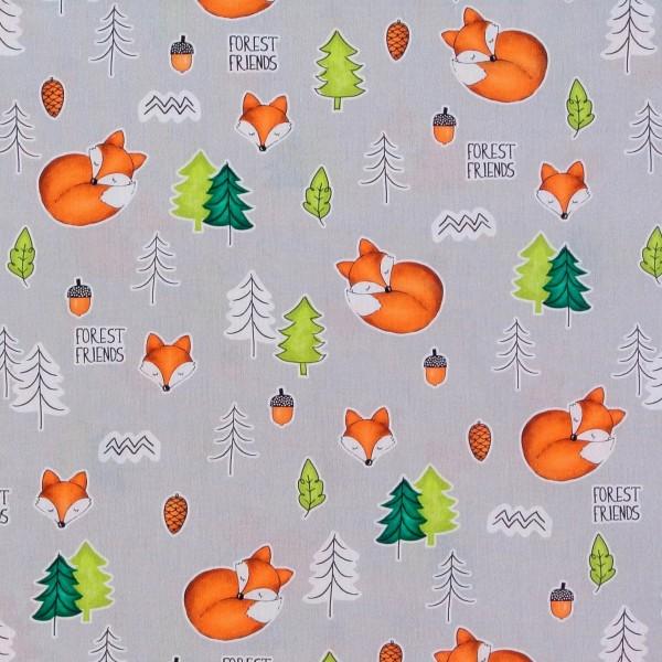 Baumwollstoff kleine Füchse Forest Friends grau