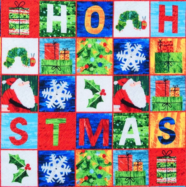 Patchworkstoff Raupe Nimmersatt Weihnachten Labels