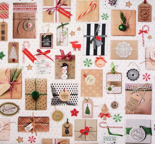 Dekostoff Weihnachten Geschenkepäckchen Baumwollstoff
