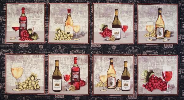 """Wein Patchworkstoff """"Wine Night"""" Weinflaschen Panel"""