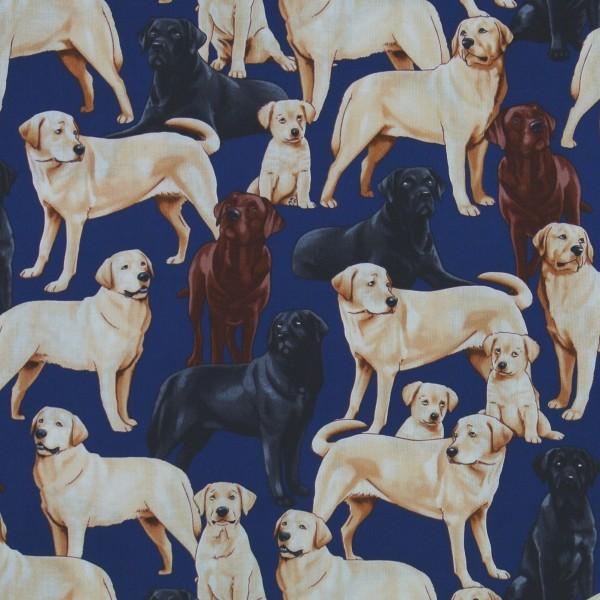 Patchworkstoff Hunde Labradors Hundestoff marine