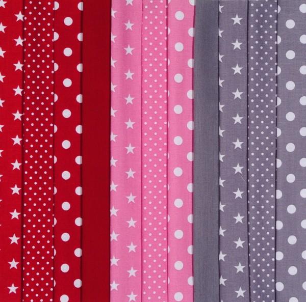 Stoffpaket Baumwollstoff rot grau rosa 11 Stoffe