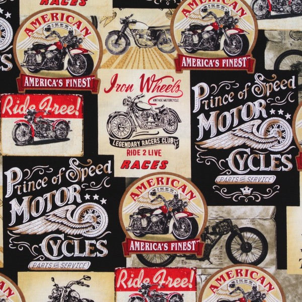 Patchworkstoff Motorräder Biker Männer beige