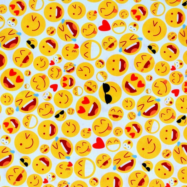 Baumwollstoff Emojis Smiley Computer weiß Dekostoff