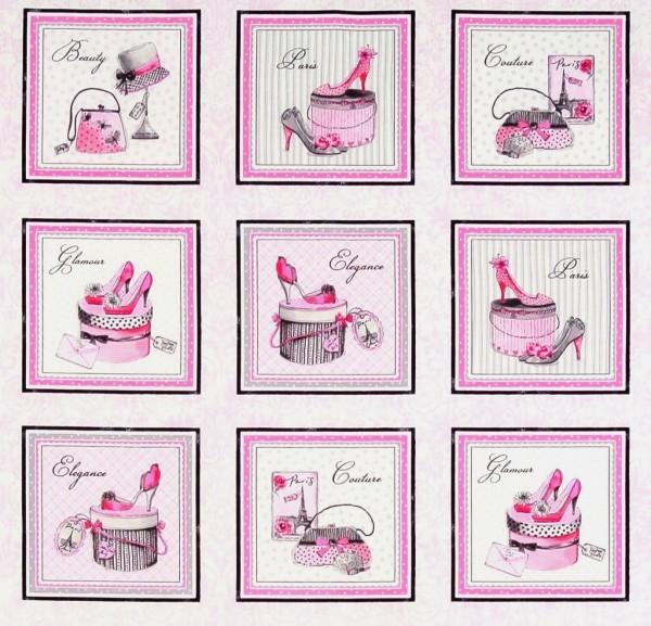 Patchworkstoff Frauen Mode Glamour Bilder pink