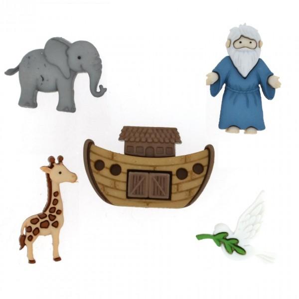 Motivknöpfe Dekoknöpfe Arche Noah Tiere