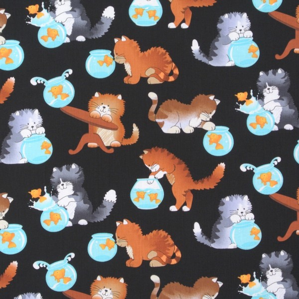 Katzenstoff Katzen Goldfische schwarz