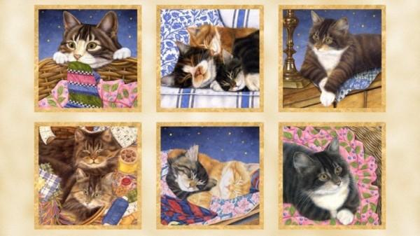 Katzen und Nähutensilien Panel