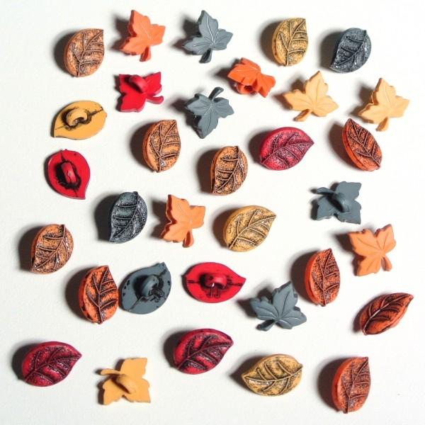 Motivknöpfe Herbst kleine bunte Blätter