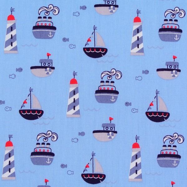 Baumwollstoff maritim Leuchttürme Schiffe hell