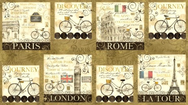 Patchworkstoff Städtebilder Fahrradtour Rom Paris Panel