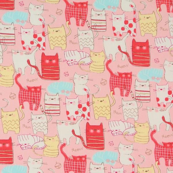 Kleine Katzen auf Rosa Katzenstoff Yuwa •