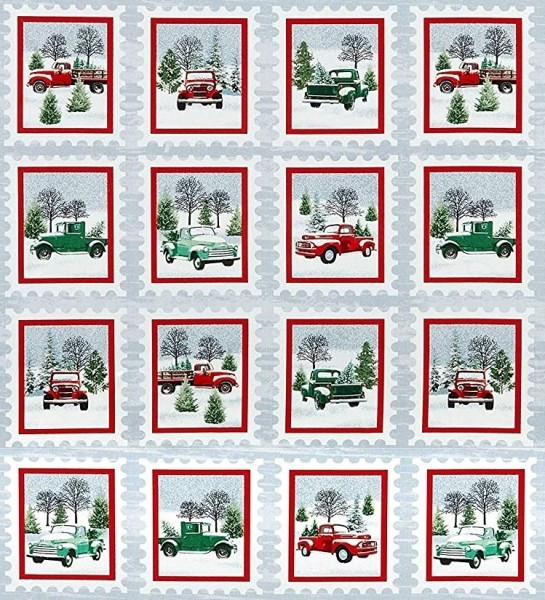 Weihnachten Patchworkstoff Weiihnachtsbäume Trucks