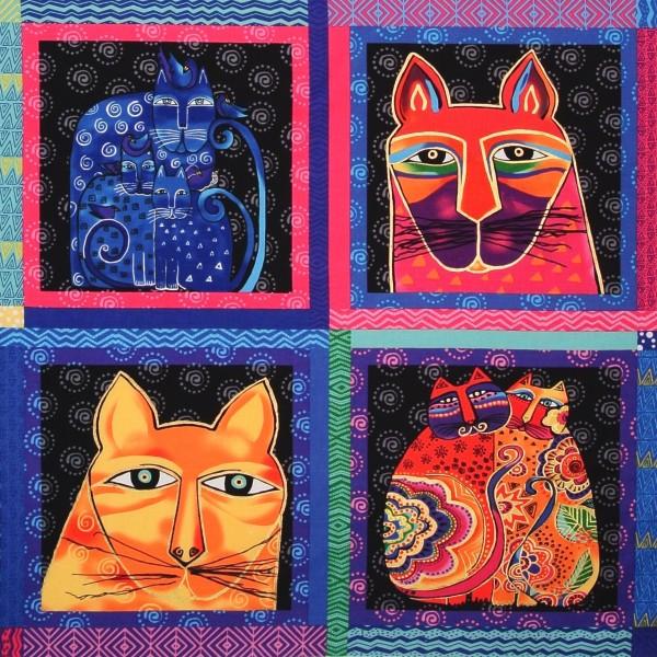 Patchworkstoff Laurel Burch Feline Frolic Katzen Panel