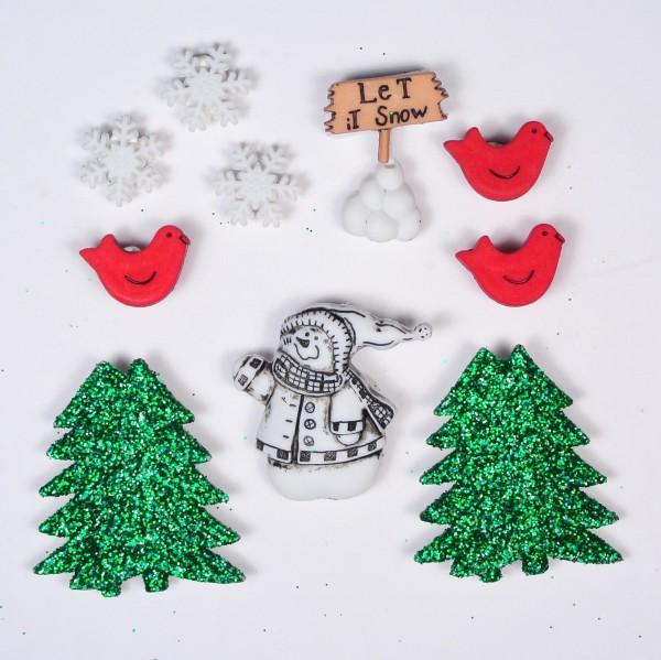 Motivknöpfe 10 Dekoknöpfe Weihnachten Blizzard