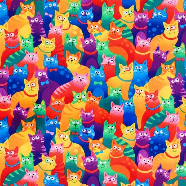 Patchworkstoff Katzen Katzenstoff Rainbow Cats