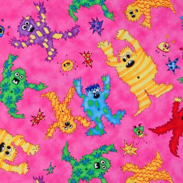 Freche bunte Monster auf Pink