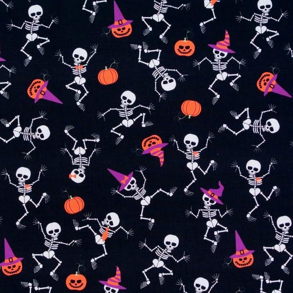 Baumwollstoff Halloween Skelette Kürbisse