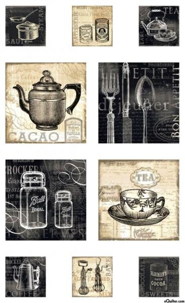 Patchworkstoff Ivory Kitchen nostalgische Küchengeräte Panel