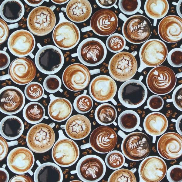 Patchworkstoff Kaffee Kaffeetassen Cappuccino