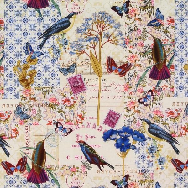 Blue Notes Vögel Blumen Schrift Garten Romantik