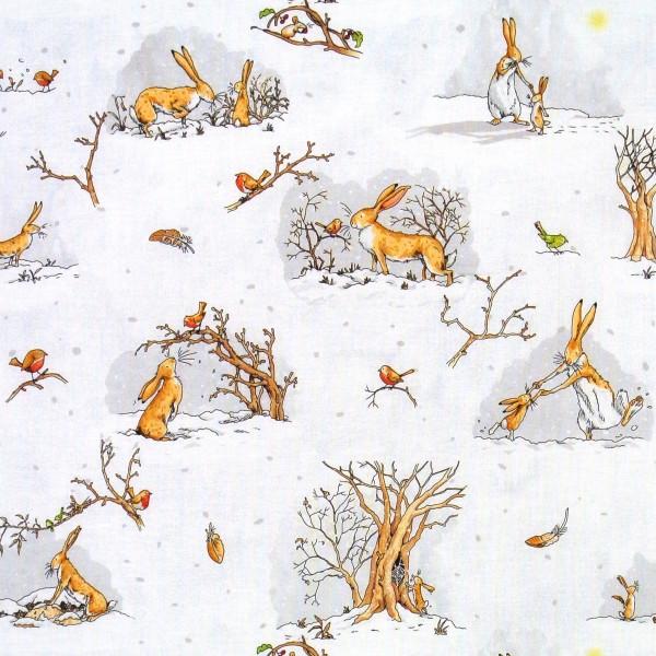 Patchworkstoff Hasenliebe Hasen Winter Weiß Grau
