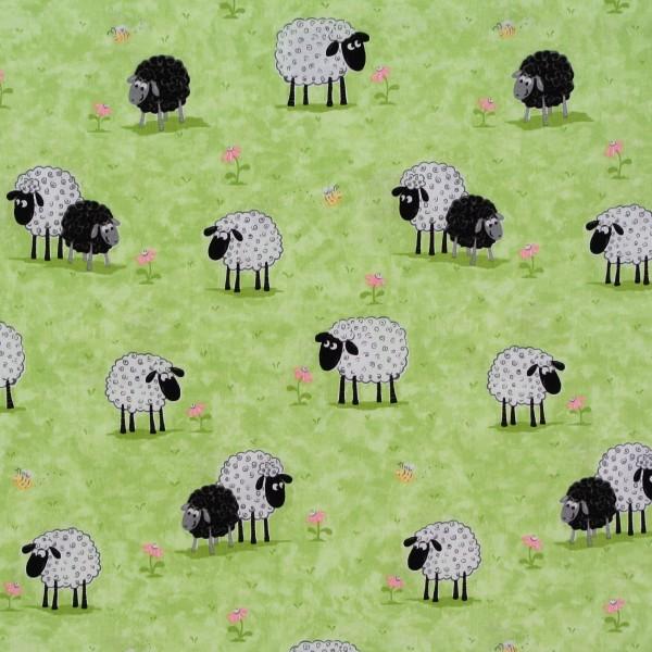 Patchworkstoff Schafe Susybee Lewe grün