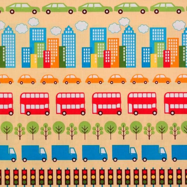 Patchworkstoff Fahrzeuge Häuser Kinderstoff City Centre