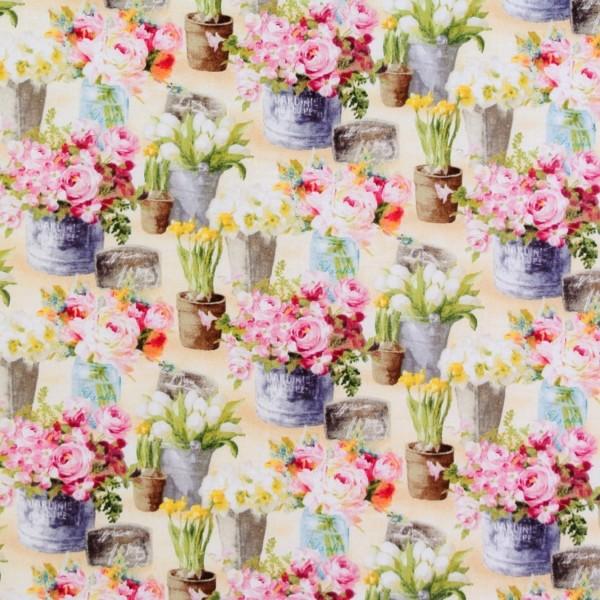 Le Cafe Frühlingsblumen auf Hellbeige Garten