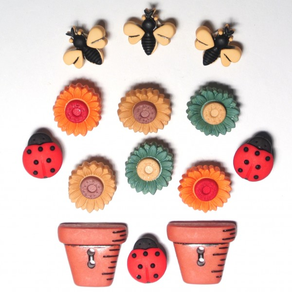 Motivknöpfe Herbst Käfer und Blumen