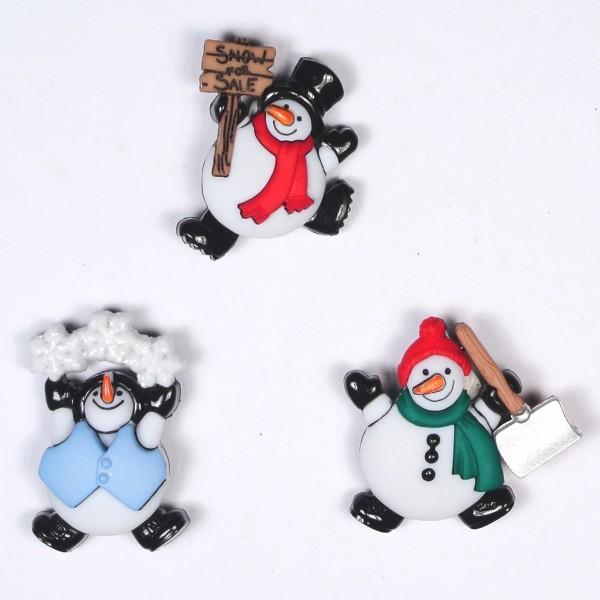 Motivknöpfe Dekoknöpfe Weihnachten Schneemänner
