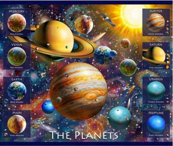 """Patchworkstoff Weltraum Planeten """"Artworks"""" Panel"""