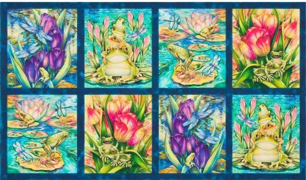 "Patchworkstoff Frösche Libellen ""Wild Magic"" Panel"