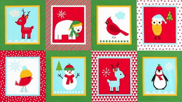 SALE Ann Kelle Panel Weihnachten Tiere grün