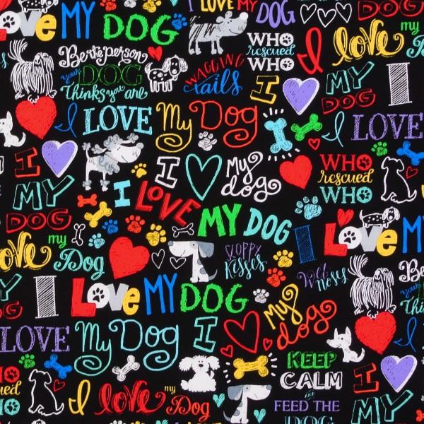 Patchworkstoff Hunde Hundeliebe Schrift