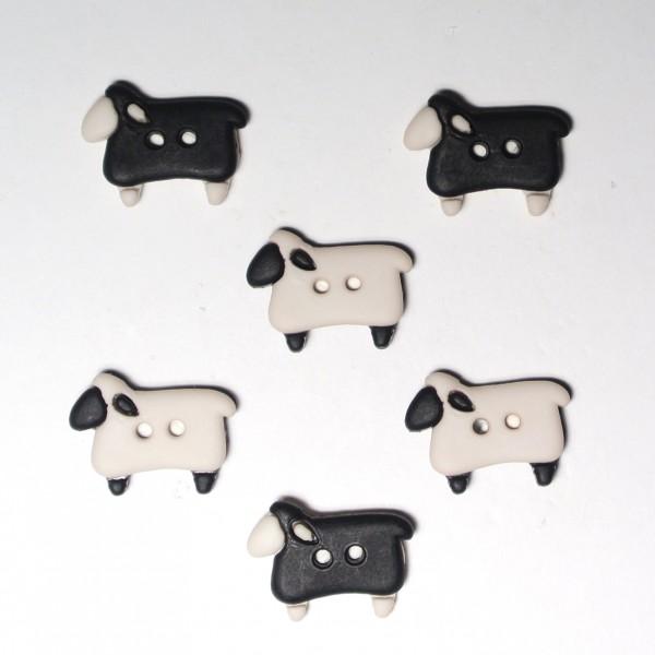 Motivknöpfe 6 Dekoknöpfe Schafe Bauernhof Tiere