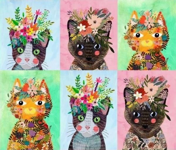 Patchworkstoff Katzen Floral Pets Panel