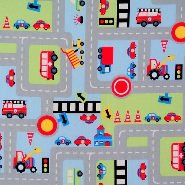 Baumwollstoff Straßen Fahrzeuge