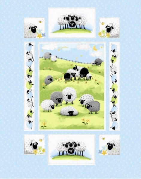 Susybee Lewe witzige Schafe Panel hellblau 90 cm