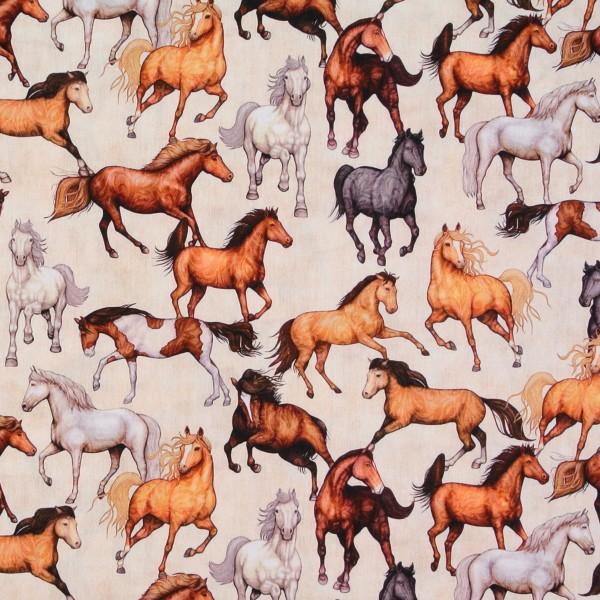 Baumwollstoff edle Pferde Bauernhof Tiere beige