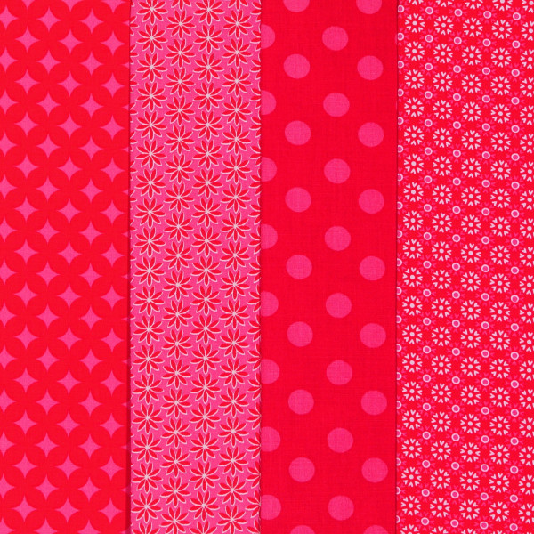 SALE Stoffpaket Baumwollstoff Fantasie Pink-Rot 4 Stoffe