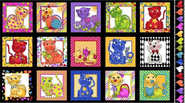 patchworkstoff loralie katzen cat happy panel schwarz 110