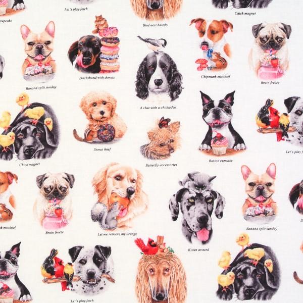 Patchworkstoff Hunde Hundestoff Doggie Drama