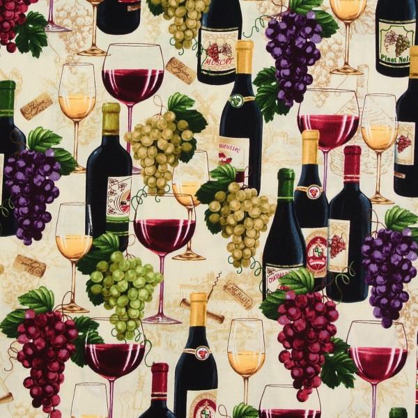 Patchworkstoff Wein Weinflaschen Weintrauben Wine