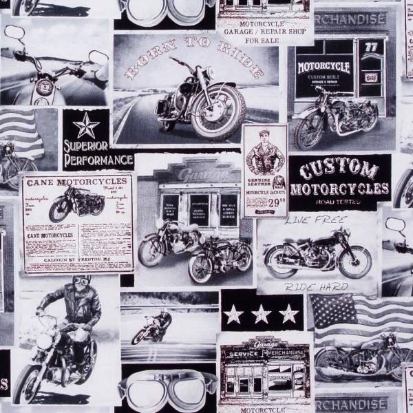 """Motorräder Biker Shops Patchworkstoff Männer """"Motorcycle"""""""