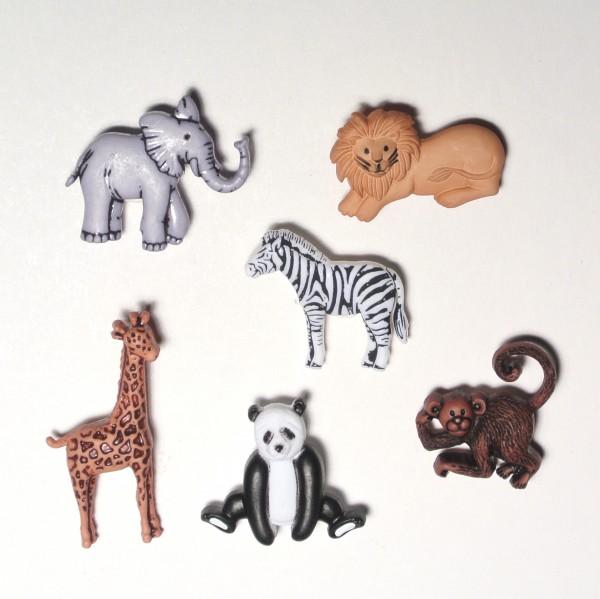 Motivknöpfe 6 Dekoknöpfe wilde Tiere